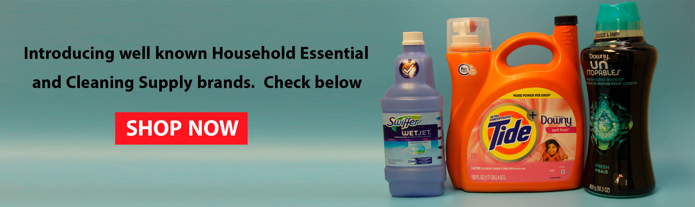 household essentials, laundry detergent, washing softener, cleaning supply